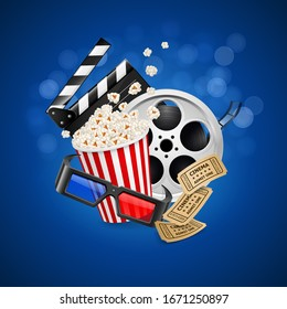 Raster version. Movie Clapper Board, Cinema Vintage Ticket, Popcorn in the Striped Bag, Film Reel and 3d Glasses Over Blue Background with Light Effects. Cinematography Movie Festival Concept