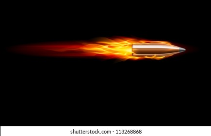 Raster version. Moving Red Fiery Gun Bullet Shot. Illustration on black