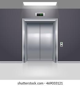 Raster version. Realistic Metal Modern Elevator with Closed Door on Floor