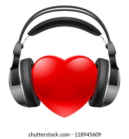 Raster version. Red heart with headphones. Music concept. Illustration on white