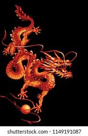 Raster version / Red oriental dragon on a black background