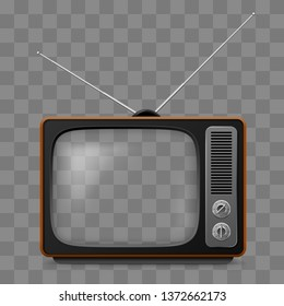 Raster version. Retro Television Set Viewer Mock Up Isolate on Transparent Grid