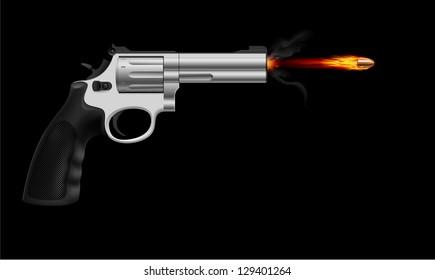 Raster version. Revolver firing bullet.  Illustration on black background