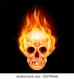 Raster version. Scary skull on fire. Illustration on black background