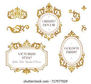 Raster version. Set frames and vignette for design template. Element in Victorian style. Golden floral borders. Ornate decor for invitations, cards, certificate, thank you message.