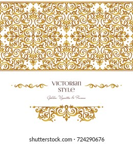 Raster version. Set of golden vignettes and borders for design template. Elements in Victorian style. Luxury floral frames. Ornate decor for invitations, greeting cards, certificate.