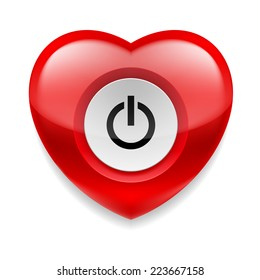 Raster version. Shiny red heart with power button on white background. Love or health concept