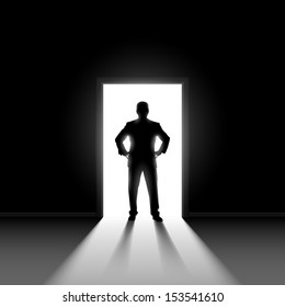 Raster version. Silhouette of man entering dark room with bright light in doorway.