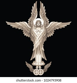 Raster version / Six-winged seraphim - the highest angelic rank, on a black background