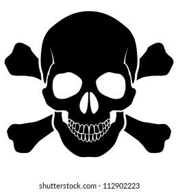 Raster version. Skull and bones - a mark of the danger  warning