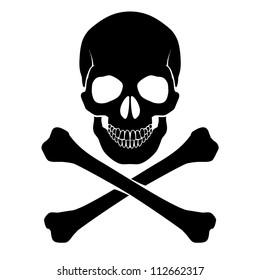 Raster version. Skull and crossbones - a mark of the danger  warning