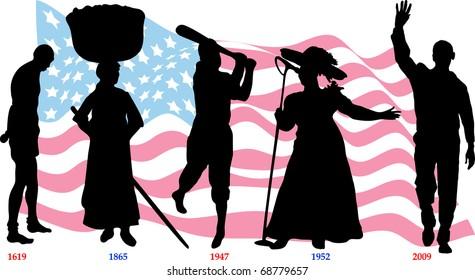 Raster version of Slavery from 1619-1865, Jackie Wilson in 1947, Mahalia Jackson in 1952 and Barack Obama became president in 2009.