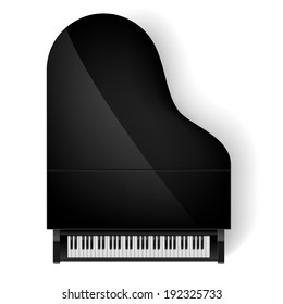 Raster version. Top view of black grand piano on white background
