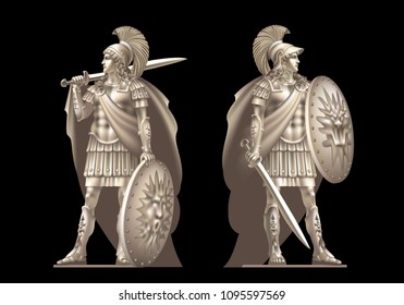 Raster version / Two ancient heroes with swords on a black background