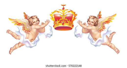 Raster version / Two cherub and a crown on a white background