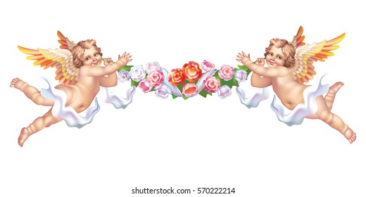 Raster version / Two cherub with a flower garland on a white background