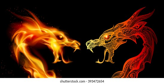 Raster version. Two Dragon Heads in Fire and Transperent Ornaments
