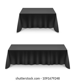 Raster version. Two Empty Big Banquet Tables Covered with Black Tablecloth