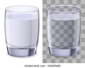 Raster version. Two glasses of water. Illustration on white background for design.