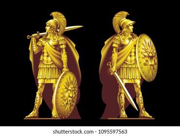 Raster version / Two golden antique hero with swords