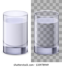 Raster version. Two realistic glasses of water. Illustration on white background for creative design.