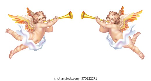 Raster version / Two trumpeting cherub in the pipe on a white background