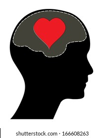 Raster version of valentines day concept. Human head with brain and red heart. Isolated abstract love illustration.