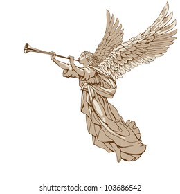 Raster version of vector/ Angel with trumpet - in three colors