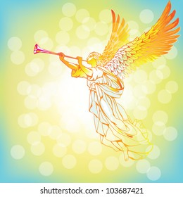 Raster version of vector/ Angel with trumpet - on an abstract background
