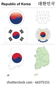 Raster version (vector available in my portfolio) of South Korea (Republic of Korea) collection including flag, map (administrative division), symbol, currency unit & glossy button