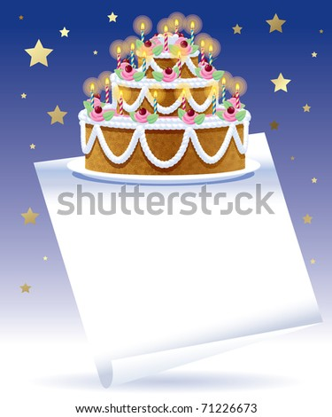 Raster Version Of Vector Birthday Cake With White Banner And Gold Stars On The Blue Background