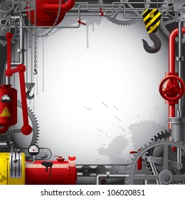 Raster version of vector engineering background with gears, levers, pipes, meters, production line, flue and lifting crane