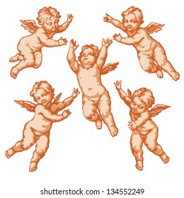 Raster version of vector/ Five little angels. In three colors on a white background