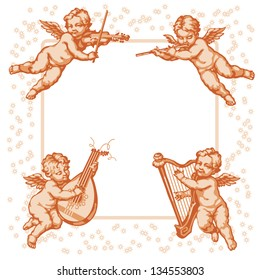 Raster version of vector/ Four little angels with musical instruments. Vignette on a white background.