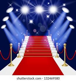 Raster version of vector red carpet with spotlight.