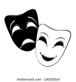 Raster version of vector theatrical mask on a white background.