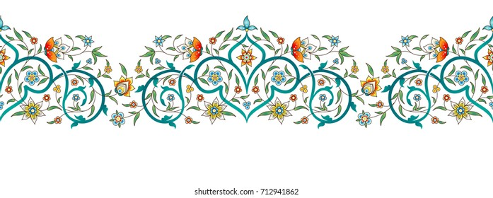 Raster version. Vintage decor; ornate seamless border for design template. Eastern style element. Luxury floral decoration. Place for text.Ornamental illustration for invitation, card, background.