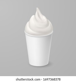 Raster version. Whipped Soft Vanilla Ice Cream or Fresh Yogurt in White Cardboard Cup. Isolated Illustration on Gray Background