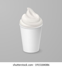 Raster version. Whipped Soft Vanilla Ice Cream or Fresh Yogurt in Blank Paper or Cardboard Cup. Isolated Illustration on Gray Backdrop