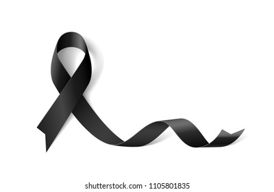 Raster version. White Banner with Melanoma Cancer Awareness Realistic Black Ribbon. Design Template for Info-graphics or Websites Magazines