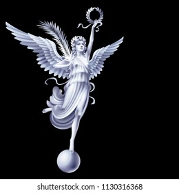 Raster version / White flying goddess Nika with the attributes of peace and victory on a black background