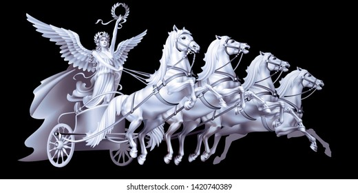 Raster version / The white goddess of victory Nike on a chariot on a black background