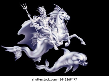 Raster version / White sea god Poseidon riding a hippocampus and a dolphin on a black background