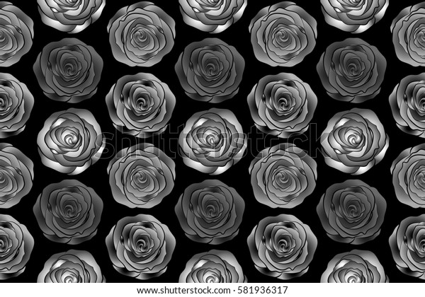 Raster vintage design. Abstract rose background in black, gray and white colors. Floral illustration. Bouquet of retro plants. Roses seamless pattern with flowers in Victorian style.