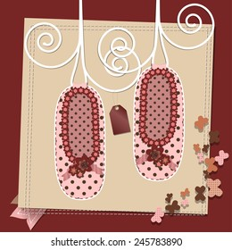 Raster Vintage Happy Birthday And Baby Shower Card Template With Booties Or Ballerinas