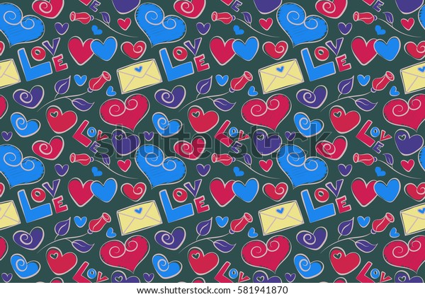 Raster vintage watercolor love hearts seamless background in blue and violet colors. Motley hand painted elements of love text, rose flower, hearts and letter. Raster illustration.
