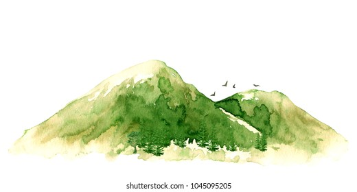 Raster vivid vintage illustration with green mountains and birds isolated on white. Tourism, vintage and natural themes, design element.