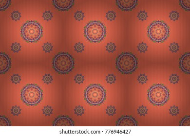 Raster wallpaper. Rope seamless tied fishnet damask pattern in orange and blue colors.