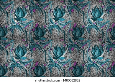 Raster watercolour floral pattern, delicate flowers, black, white and blue flowers, greeting card template. Raster Beautiful fabric pattern.