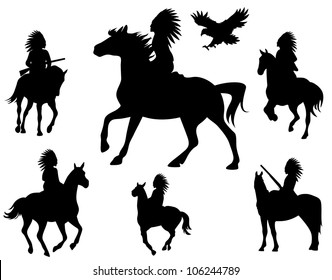 raster - wild west theme silhouettes - native americans riding horses and wingspread eagle (vector version is available in my portfolio)